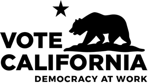 Vote California Democracy at Work logo, all black on white background