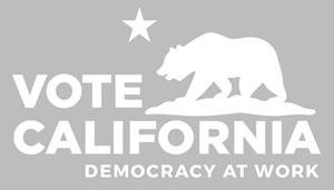 Vote California Democracy at Work logo, grey background, white logo