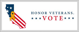 Honor Veterans. Vote. Banner logo. California state outline with united states flag inside state outline. With text Honor Veterans. Vote. next to the state outline.